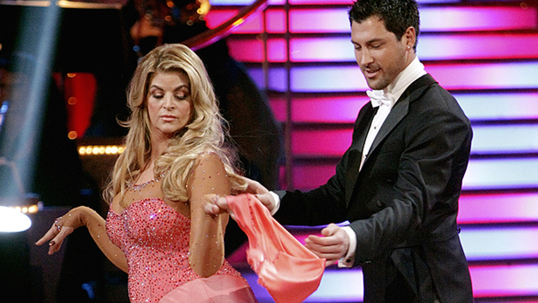 March 28: In this publicity image released by ABC, actress Kirstie Alley, left, and her partner Maksim Chmerkovskiy perform on the celebrity dance competition series 'Dancing With the Stars' in Los Angeles.