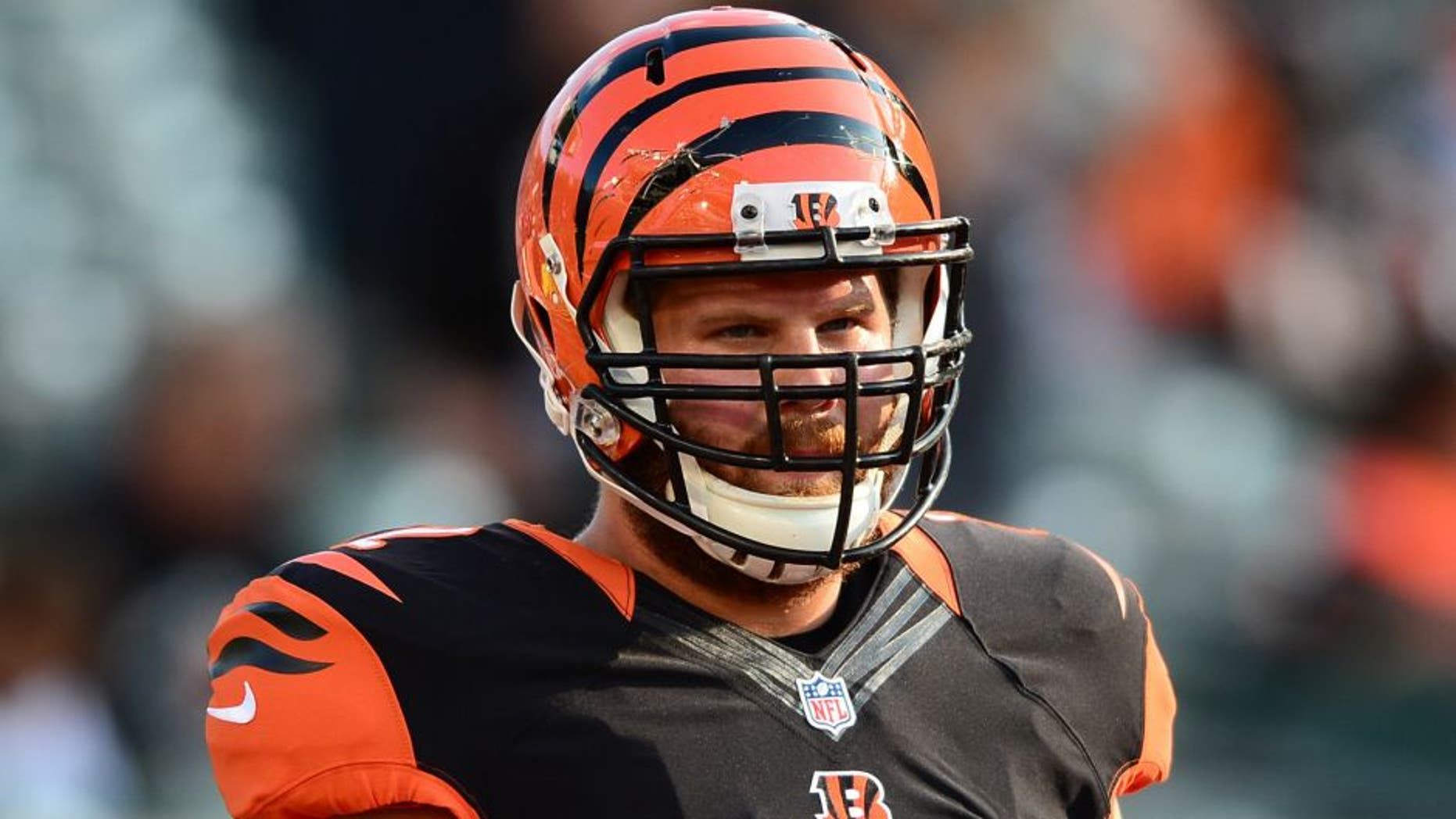 Aug 28, 2014; Cincinnati, OH, USA; Cincinnati Bengals guard Tanner Hawkinson (72) against the Indianapolis Colts at Paul Brown Stadium. Mandatory Credit: Andrew Weber-USA TODAY Sports