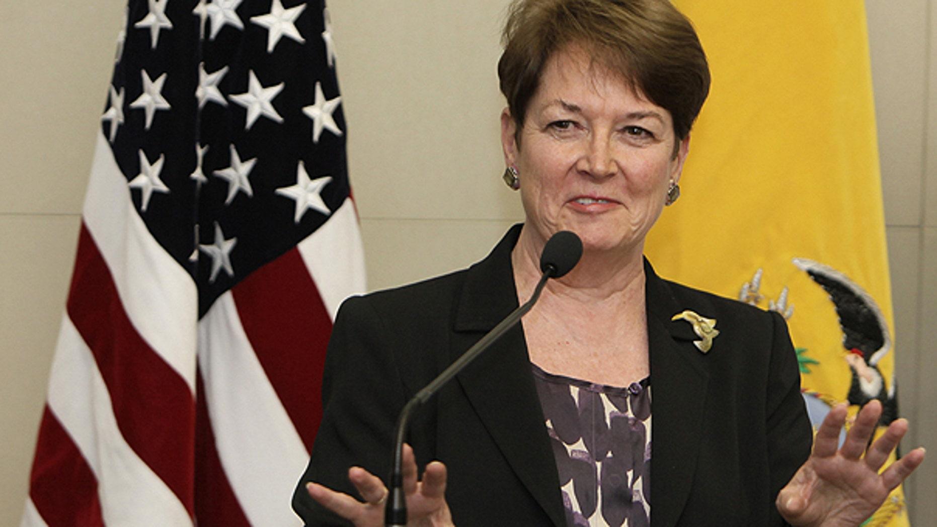April 5: U.S. ambassador to Ecuador Heather Hodges gives a press conference in Quito, Ecuador.