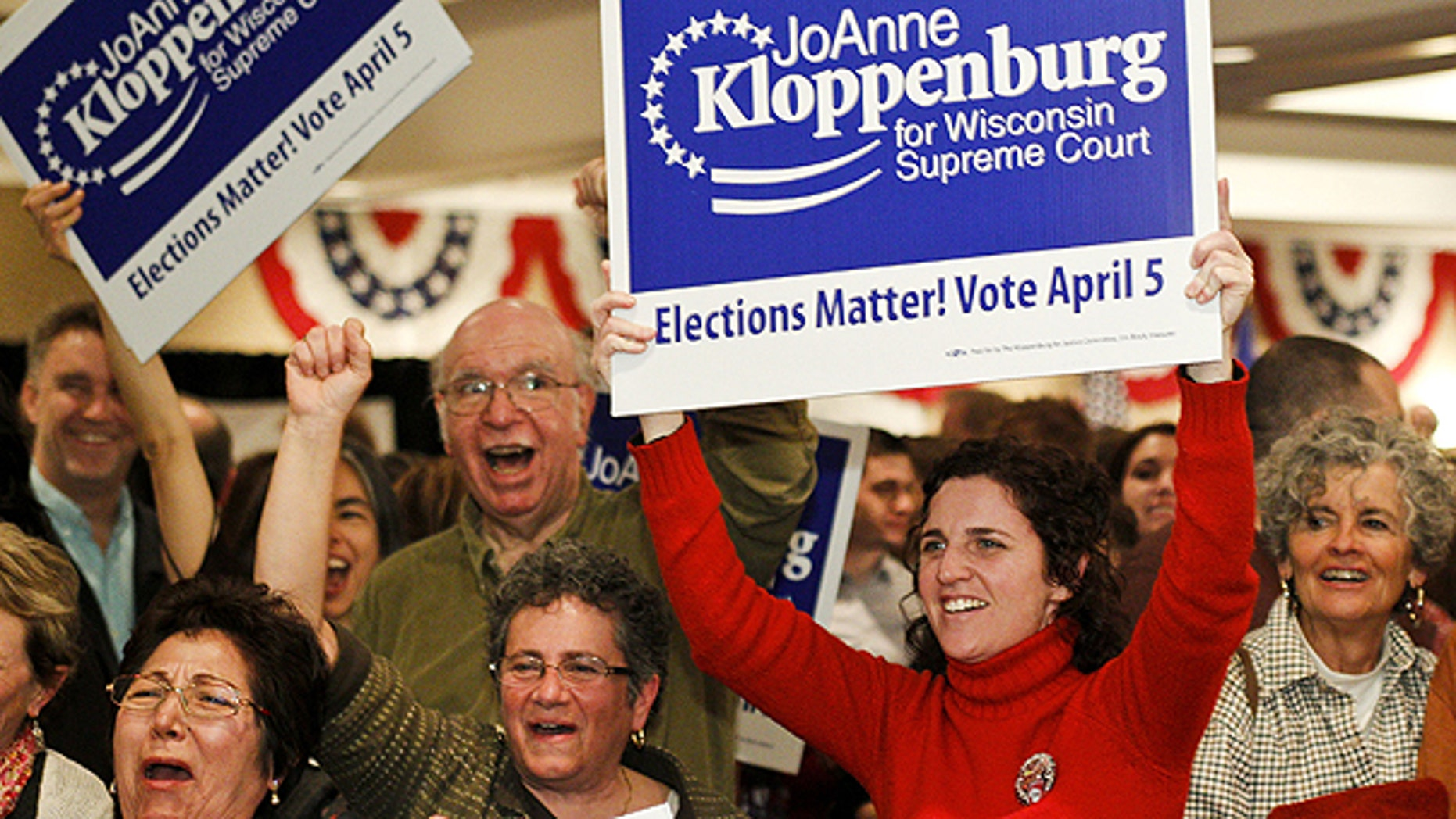 FILE: This April 2011 photo shows supporters for Wisconsin Supreme Court candidate JoAnne Kloppenburg in Madison, Wis. On May 31 Kloppenburg conceded to incumbent Justice David Prosser.