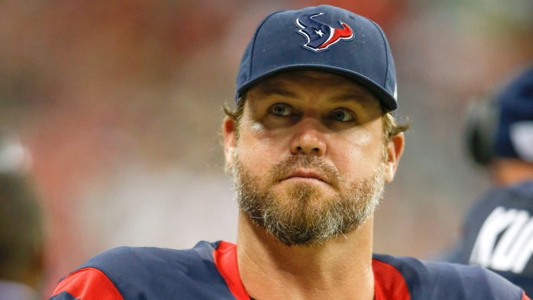 Aug 28, 2014; Houston, TX, USA; Houston Texans punter Shane Lechler (9) during the game against the San Francisco 49ers at NRG Stadium. Mandatory Credit: Kevin Jairaj-USA TODAY Sports