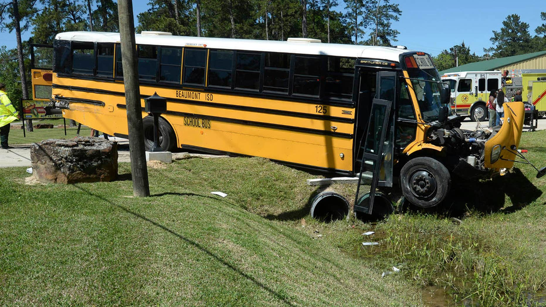 April 5, 2017: More than 20 Charlton-Pollard Elementary students and one adult were hospitalized when a Beaumont school district bus was involved in a traffic accident on U.S. 69 in Lumberton, Texas.
