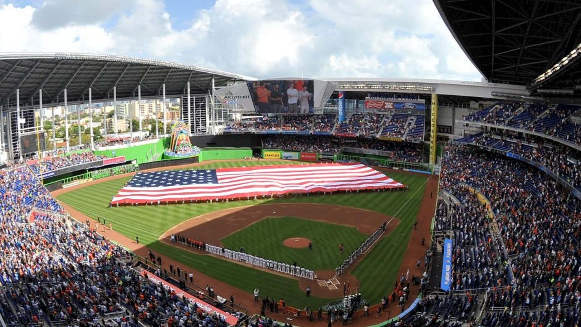 Apr 6, 2015; Miami, FL, USA; A general view of Marlins Park before a game between the Atlanta Braves and the Miami Marlins. Mandatory Credit: Steve Mitchell-USA TODAY Sports