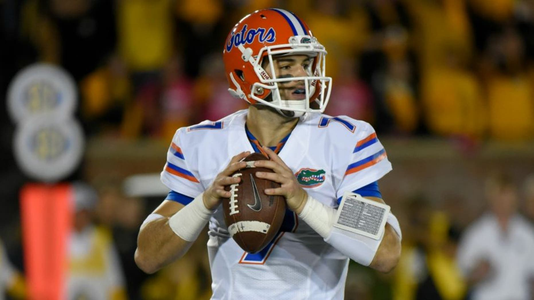 COLUMBIA , MO - OCTOBER 10: Quarterback Will Grier #7 of the Florida Gators drops back for a pass against the Missouri Tigers at Memorial Stadium on October 10, 2015 in Columbia, Missouri. (Photo by Ed Zurga/Getty Images) *** Local Caption *** Will Grier,COLUMBIA , MO - OCTOBER 10: Quarterback Will Grier #7 of the Florida Gators drops back for a pass against the Missouri Tigers at Memorial Stadium on October 10, 2015 in Columbia, Missouri. (Photo by Ed Zurga/Getty Images)