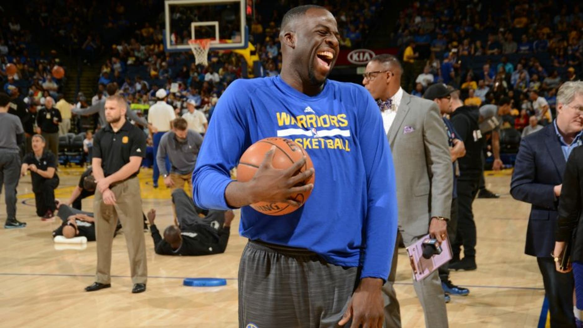 OAKLAND, CA - APRIL 5: Draymond Green #23 of the Golden State Warriors laughs facing the Minnesota Timberwolves on April 5, 2016 at Oracle Arena in Oakland, California. NOTE TO USER: User expressly acknowledges and agrees that, by downloading and or using this photograph, user is consenting to the terms and conditions of Getty Images License Agreement. Mandatory Copyright Notice: Copyright 2016 NBAE (Photo by Noah Graham/NBAE via Getty Images)