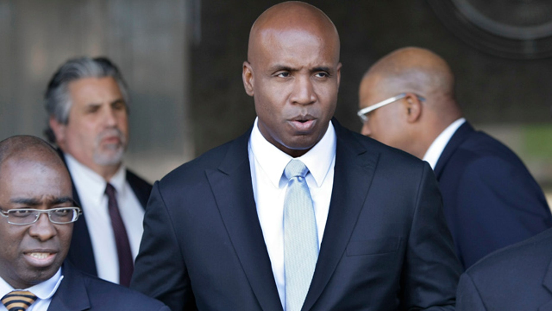 April 6: Barry Bonds leaves a federal courthouse for his trial in San Francisco.