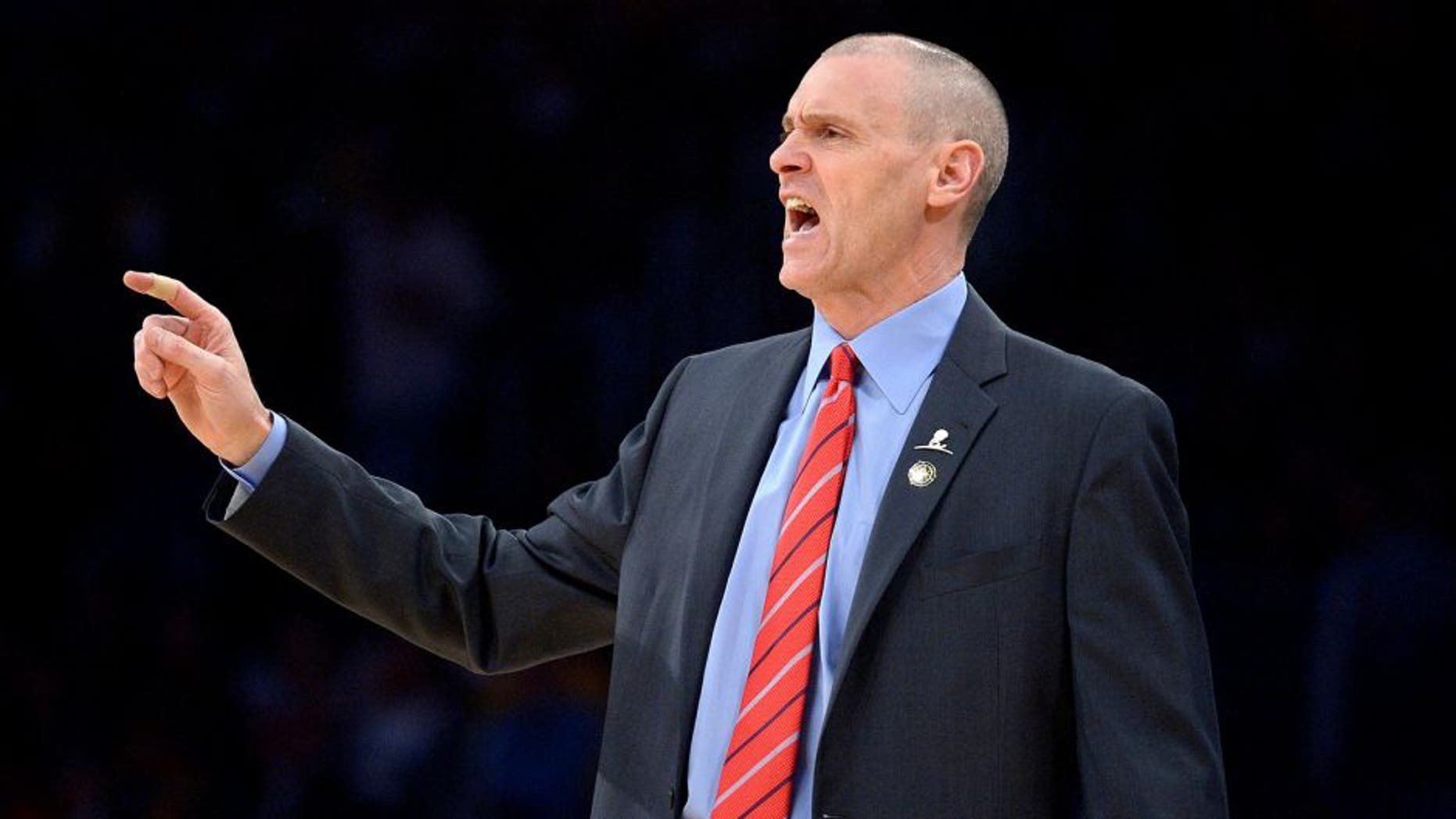 Apr 4, 2014; Los Angeles, CA, USA; Dallas Mavericks coach Rick Carlisle reacts during the first half against the Los Angeles Lakers at Staples Center. Mandatory Credit: Kirby Lee-USA TODAY Sports