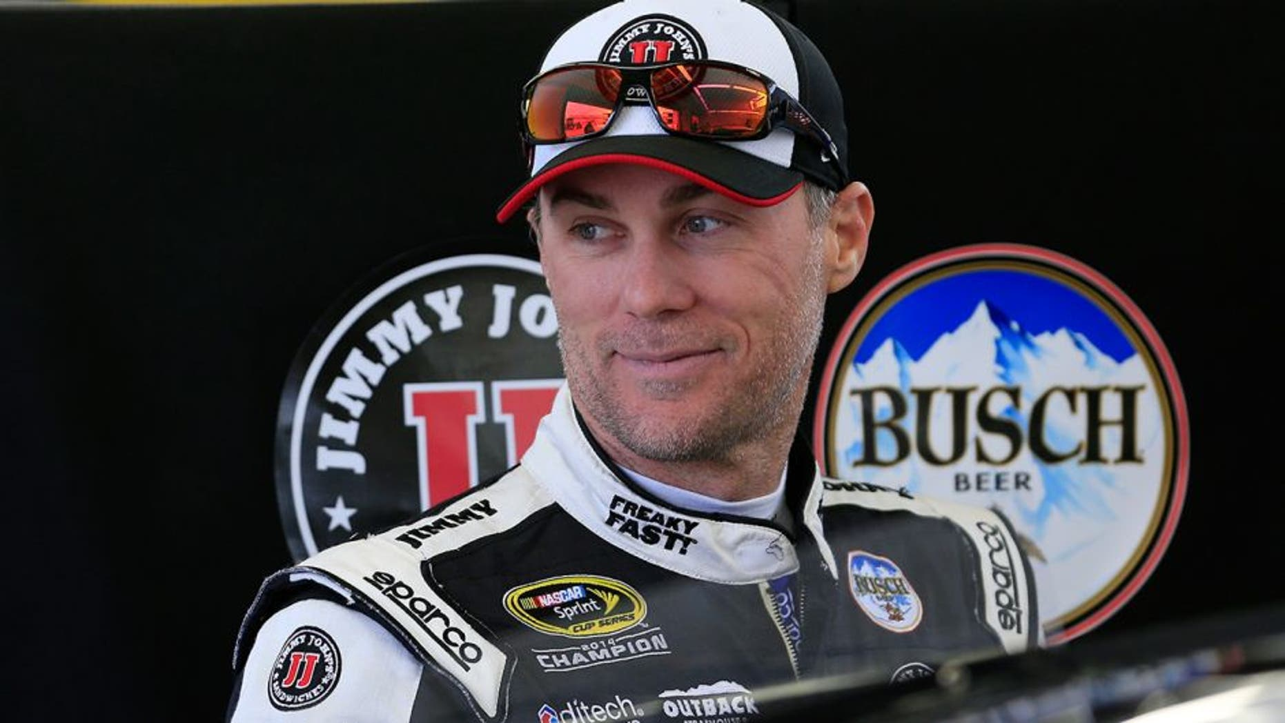 LAS VEGAS, NV - MARCH 05: Kevin Harvick, driver of the #4 Jimmy John's Chevrolet, stands next to his car in the garage area during practice for the NASCAR Sprint Cup Series Kobalt 400 at Las Vegas Motor Speedway on March 5, 2016 in Las Vegas, Nevada. (Photo by Chris Trotman/Getty Images)