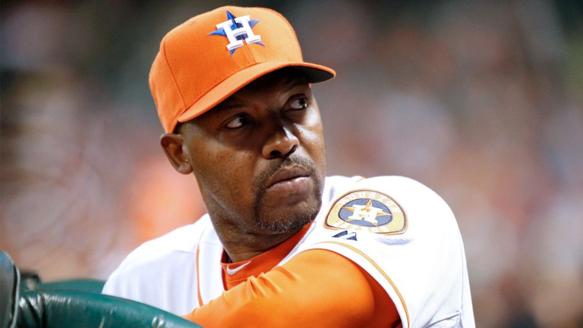 Apr 5, 2014; Houston, TX, USA; Houston Astros manager Bo Porter (16) looks at the crowd during the first inning against the Los Angeles Angels at Minute Maid Park. Mandatory Credit: Andrew Richardson-USA TODAY Sports