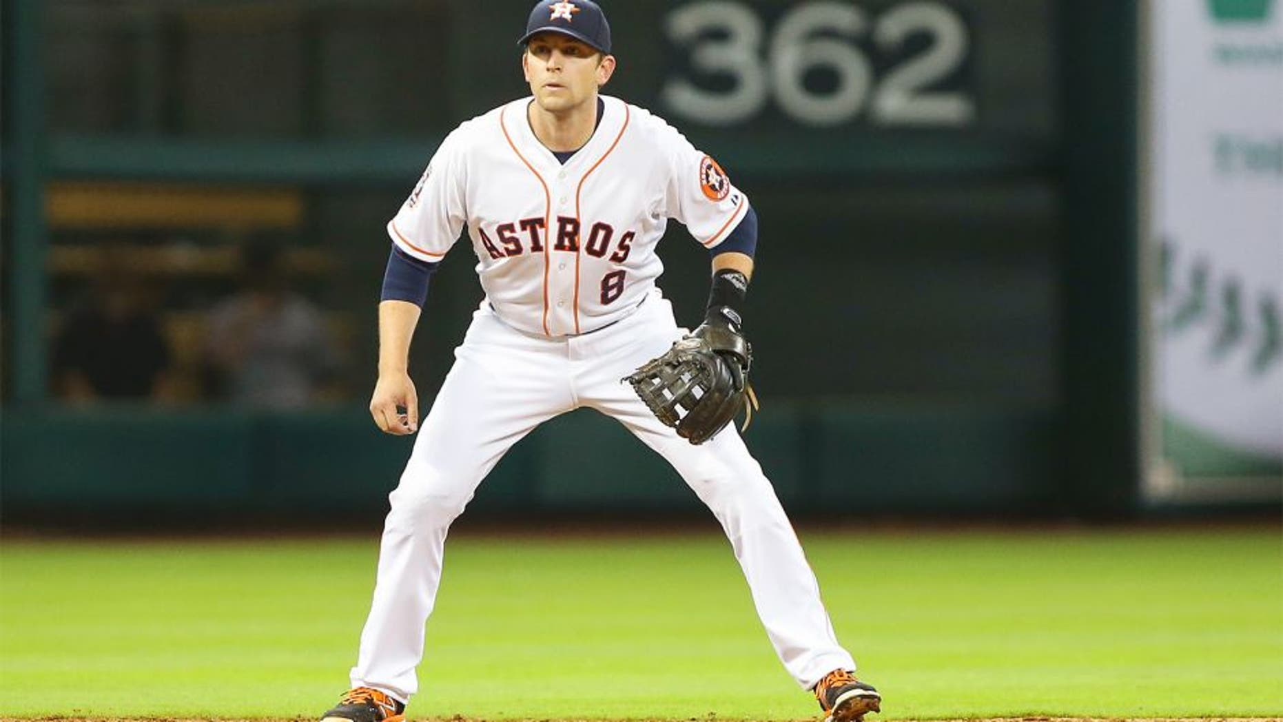 Apr 6, 2015; Houston, TX, USA; Houston Astros shortstop Jed Lowrie (8) during the game against the Cleveland Indians at Minute Maid Park. Mandatory Credit: Troy Taormina-USA TODAY Sports