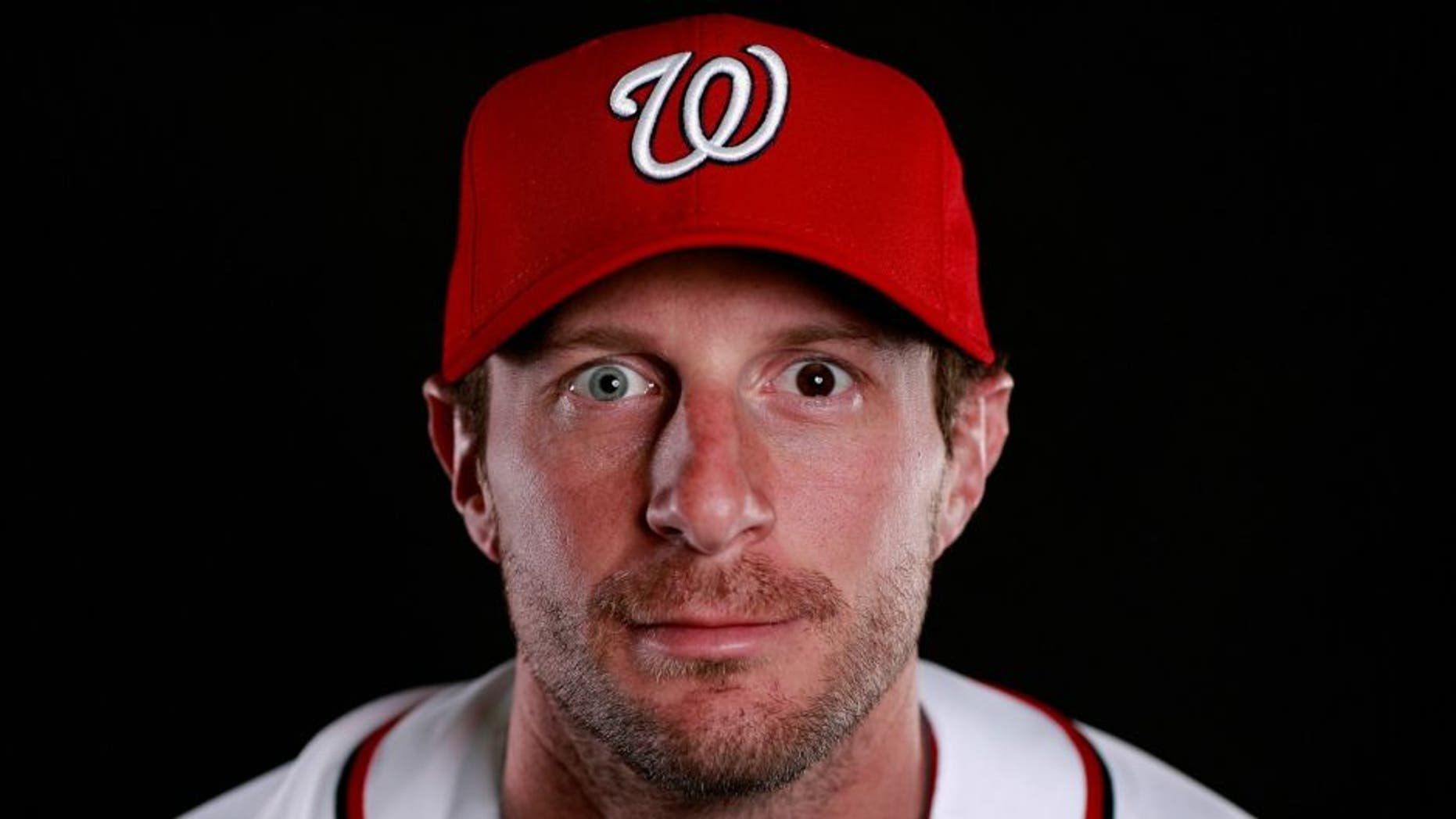 poses for a portrait at Spring Training photo day at Space Coast Stadium on February 28, 2016 in Viera, Florida.,VIERA, FL - FEBRUARY 28: Max Scherzer #31 of the Washington Nationals poses for a portrait at Spring Training photo day at Space Coast Stadium on February 28, 2016 in Viera, Florida. (Photo by Chris Trotman/Getty Images)