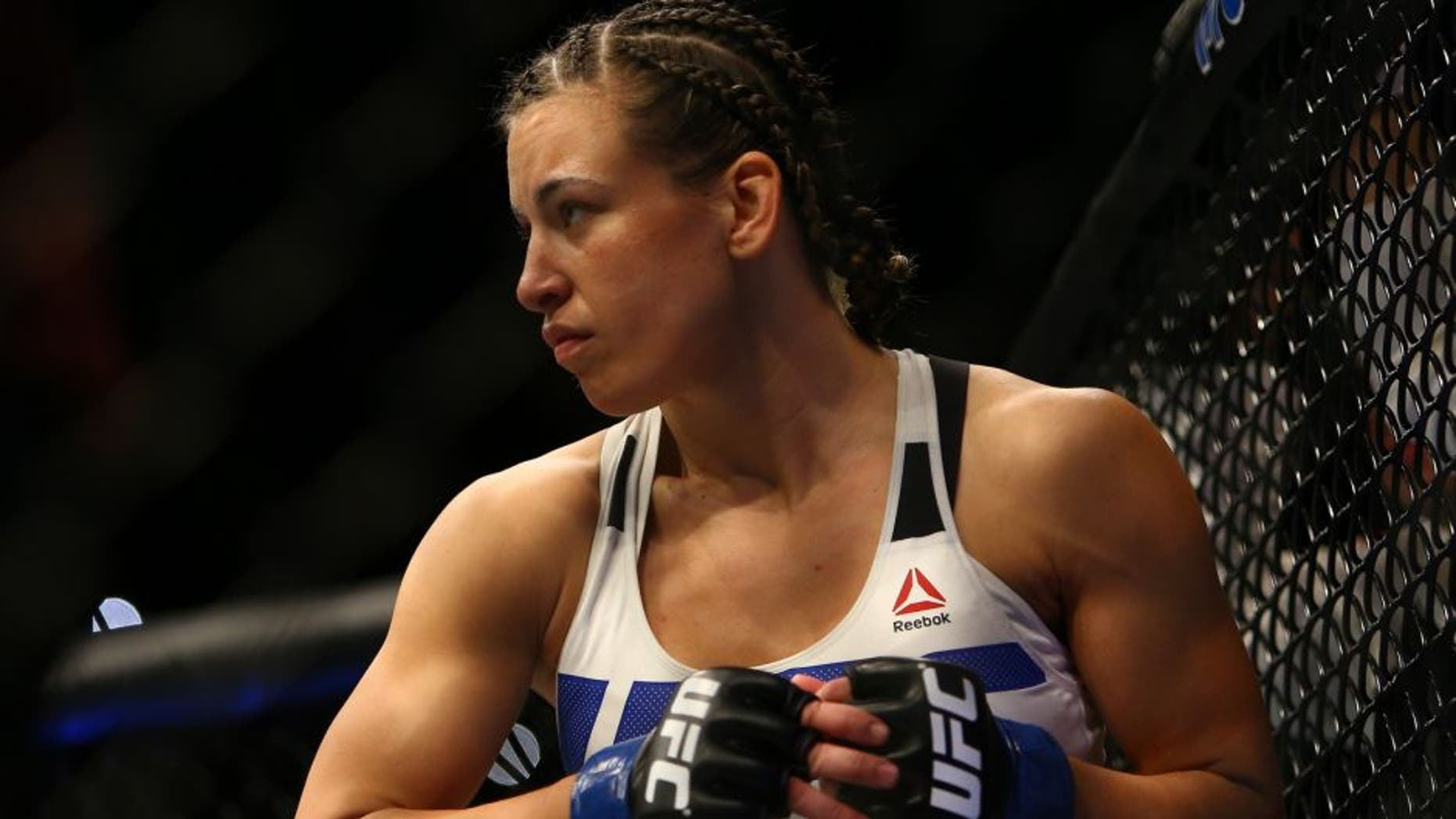 LAS VEGAS, NV - MARCH 5: Miesha Tate prior to her bout against UFC bantamweight champion Holly Holm during UFC 196 at the MGM Grand Garden Arena on March 5, 2016 in Las Vegas, Nevada. (Photo by Rey Del Rio/Getty Images)