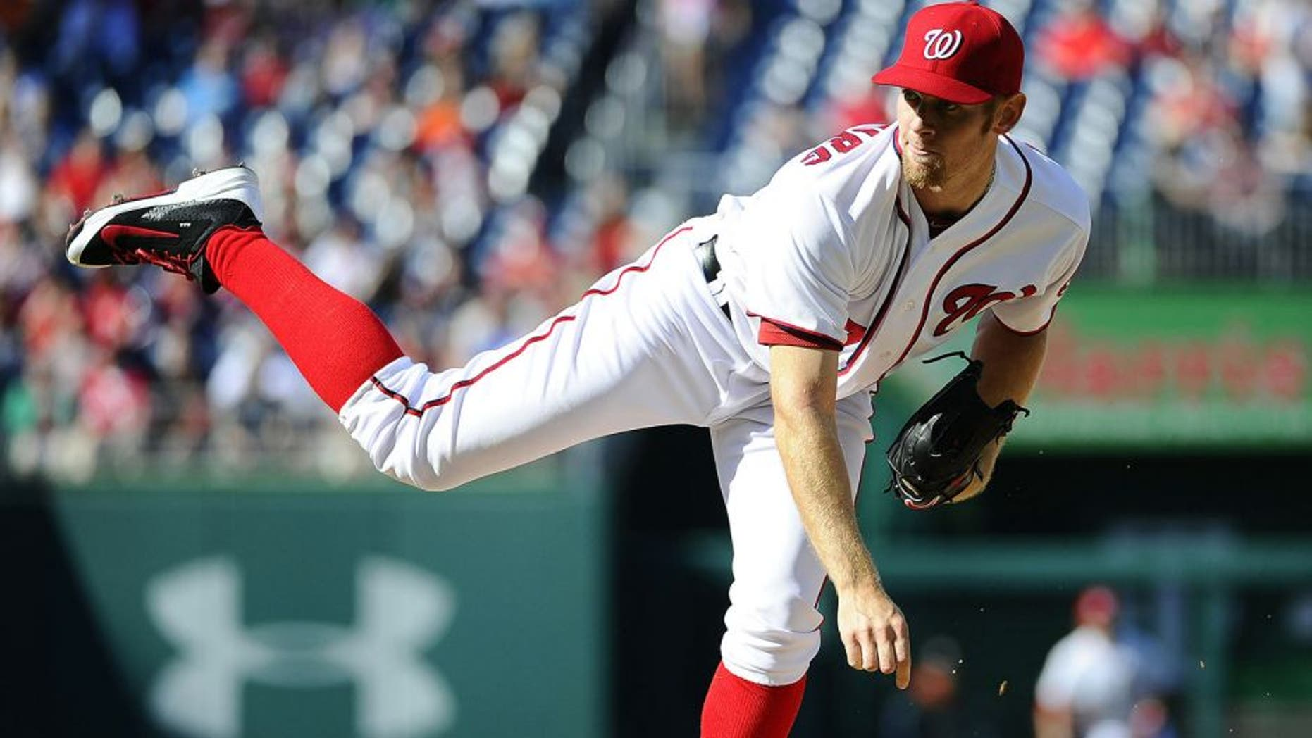 Apr 10, 2014; Washington, DC, USA; Washington Nationals pitcher Stephen Strasburg (37) throws during the second inning against the Miami Marlins at Nationals Park. Mandatory Credit: Brad Mills-USA TODAY Sports