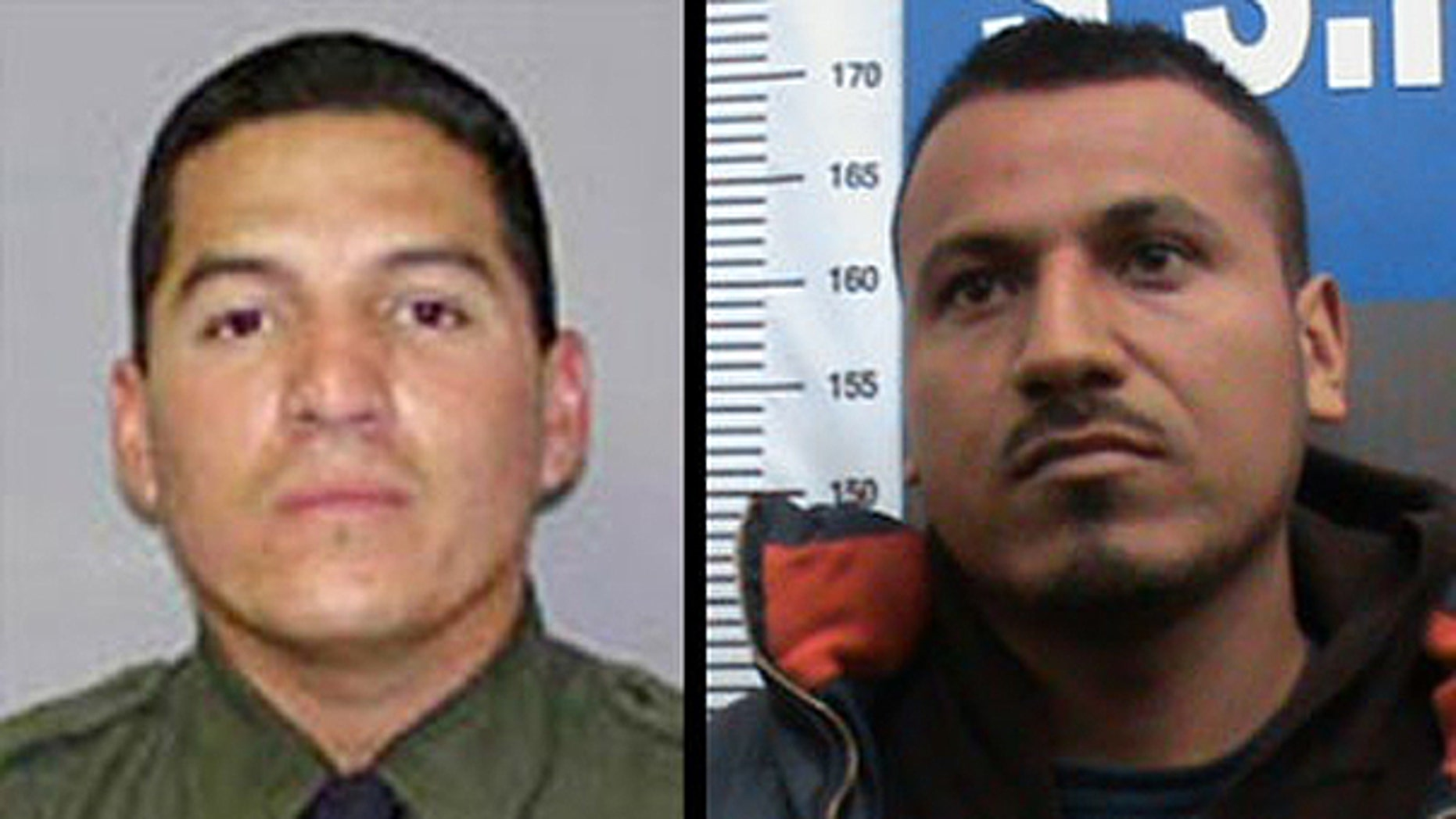 Border Agent Roberto Rosas (left) and Marcos Manuel Rodriguez Perez (right)