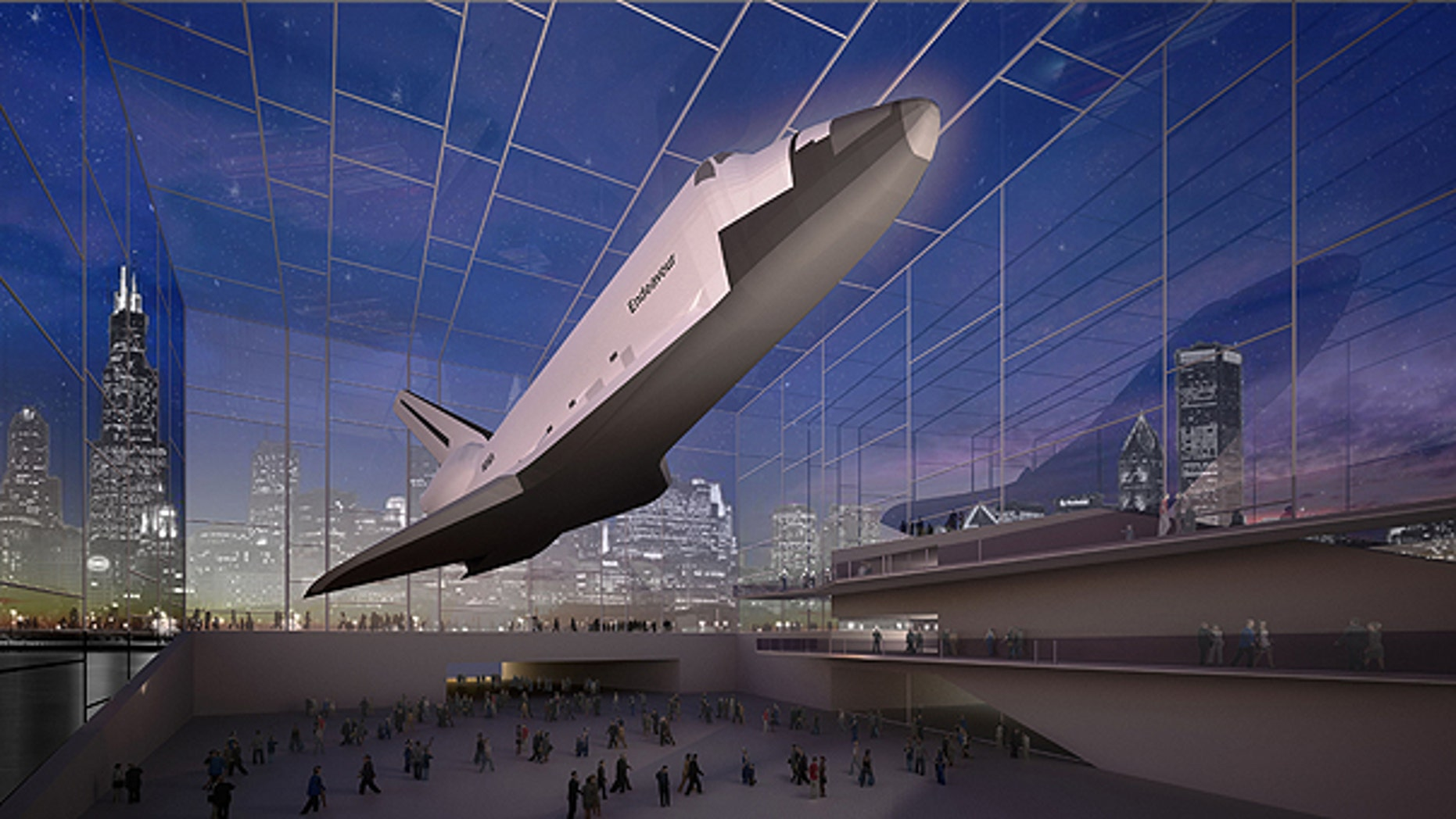 April 7: This image provided by the Adler Planetarium shows a proposal for a space shuttle exhibit in Chicago.