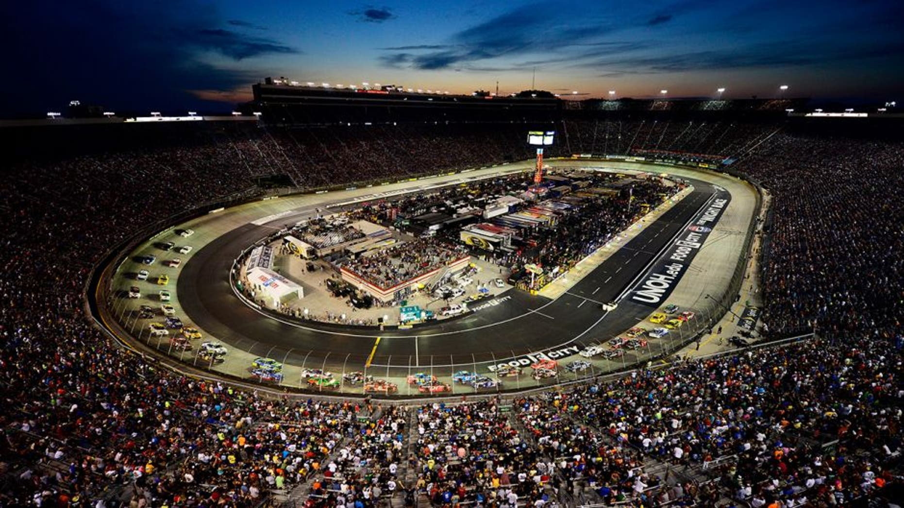 BRISTOL, TN - AUGUST 22: A general view of the speedway as cars race during the NASCAR Sprint Cup Series IRWIN Tools Night Race at Bristol Motor Speedway on August 22, 2015 in Bristol, Tennessee. (Photo by Jeff Curry/NASCAR via Getty Images)