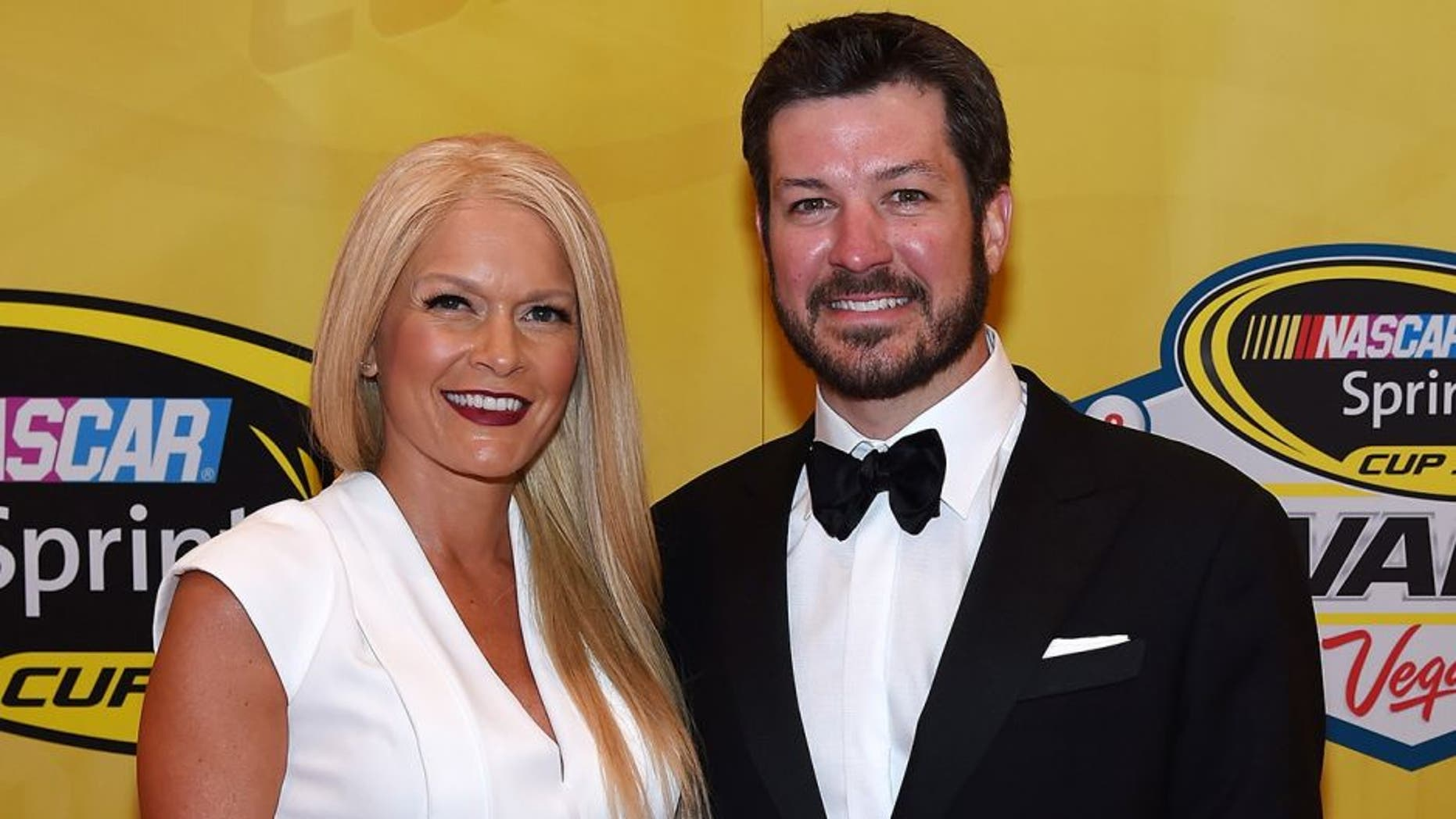LAS VEGAS, NV - DECEMBER 04: Sherry Pollex (L) and NASCAR Sprint Cup Series driver Martin Truex Jr. attend the 2015 NASCAR Sprint Cup Series Awards at Wynn Las Vegas on December 4, 2015 in Las Vegas, Nevada. (Photo by Ethan Miller/Getty Images)