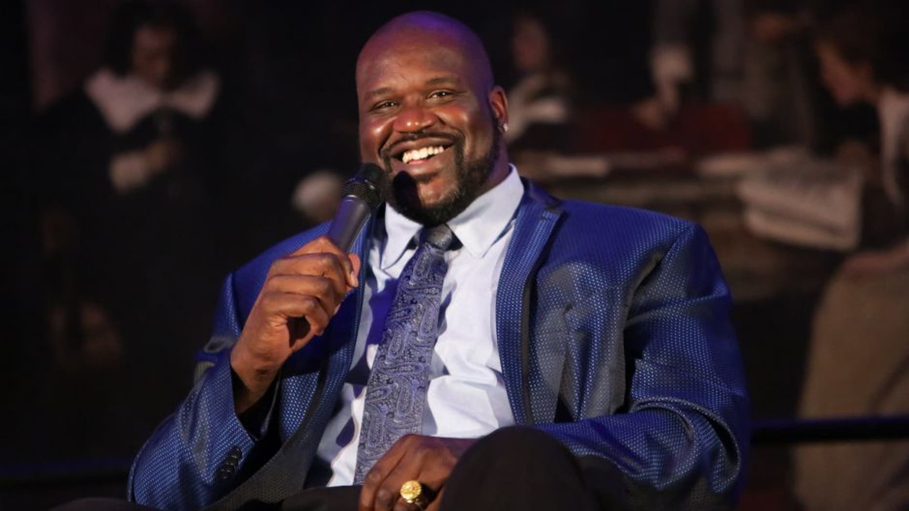 NEW YORK, NY - OCTOBER 05: Former professional basketball player/author Shaquille O'Neal speaks on stage during LIVE from the NYPL: Shaquille O'Neal held at the New York Public Library - Stephen A. Schwartzman Building on October 5, 2015 in New York City. (Photo by Brent N. Clarke/Getty Images)