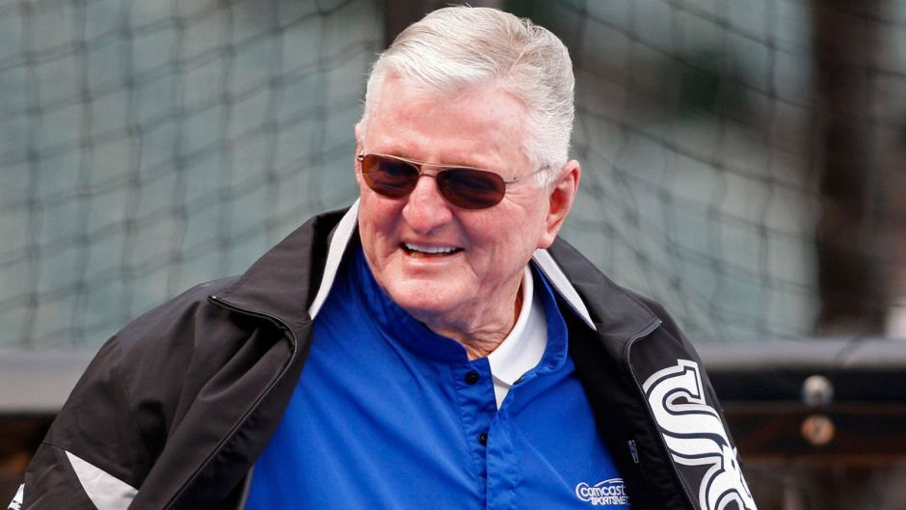 May 20, 2011; Chicago, IL, USA; Chicago White Sox television announcer Ken Harrelson before the game against the Los Angeles Dodgers at US Cellular Field. Mandatory Credit: Jerry Lai-USA TODAY Sports
