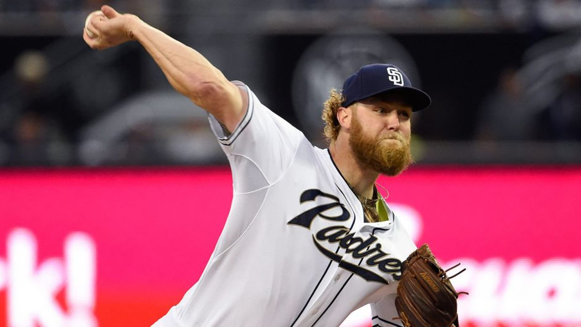 SAN DIEGO, CA - APRIL 13: Andrew Cashner #34 of the San Diego Padres pitches during the first inning of a baseball game against the Arizona Diamondbacks at Petco Park April 13, 2015 in San Diego, California. (Photo by Denis Poroy/Getty Images)