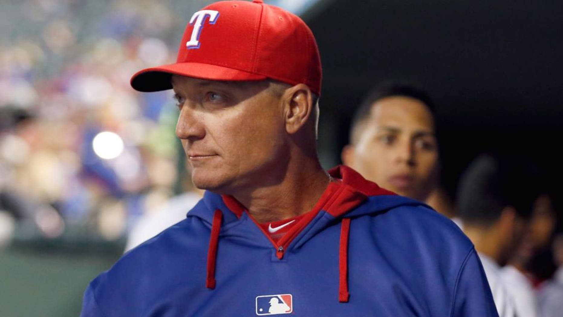 Apr 13, 2015; Arlington, TX, USA; Texas Rangers manager Jeff Banister in the dugout during the game against the Los Angeles Angels at Globe Life Park in Arlington. Mandatory Credit: Matthew Emmons-USA TODAY Sports