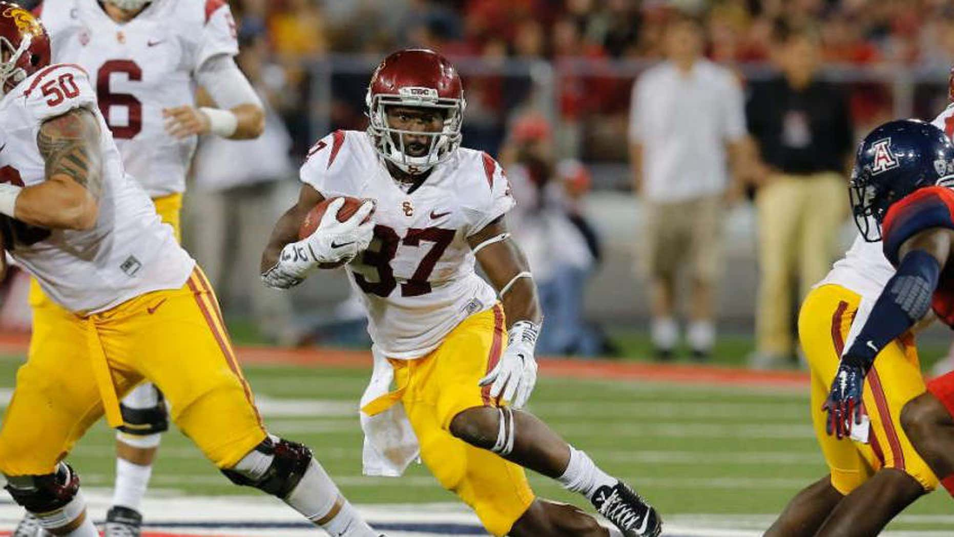 Oct. 11, 2014: Southern California running back Javorius Allen (37) runs for a firstdown against Arizona during the second half of an NCAA college football game.