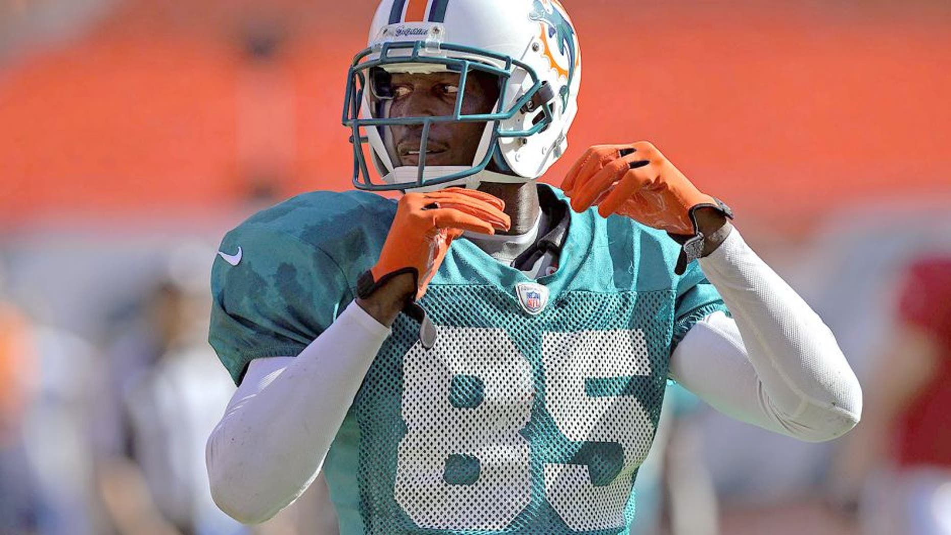 Aug. 4, 2012; Miami, FL, USA; Miami Dolphins wide receiver Chad Johnson (85) during a scrimmage at Sun Life Stadium. Mandatory Credit: Steve Mitchell-USA TODAY Sports