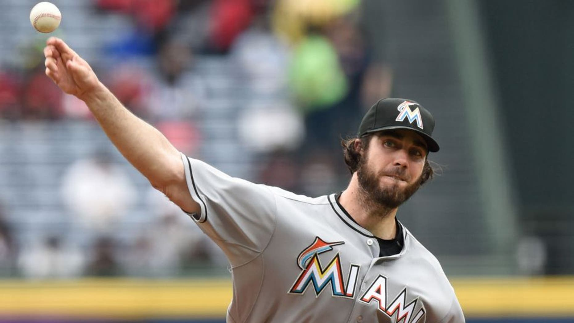 Apr 15, 2015; Atlanta, GA, USA; Miami Marlins starting pitcher Dan Haren pitches against the Atlanta Braves during the first inning at Turner Field. Mandatory Credit: Dale Zanine-USA TODAY Sports