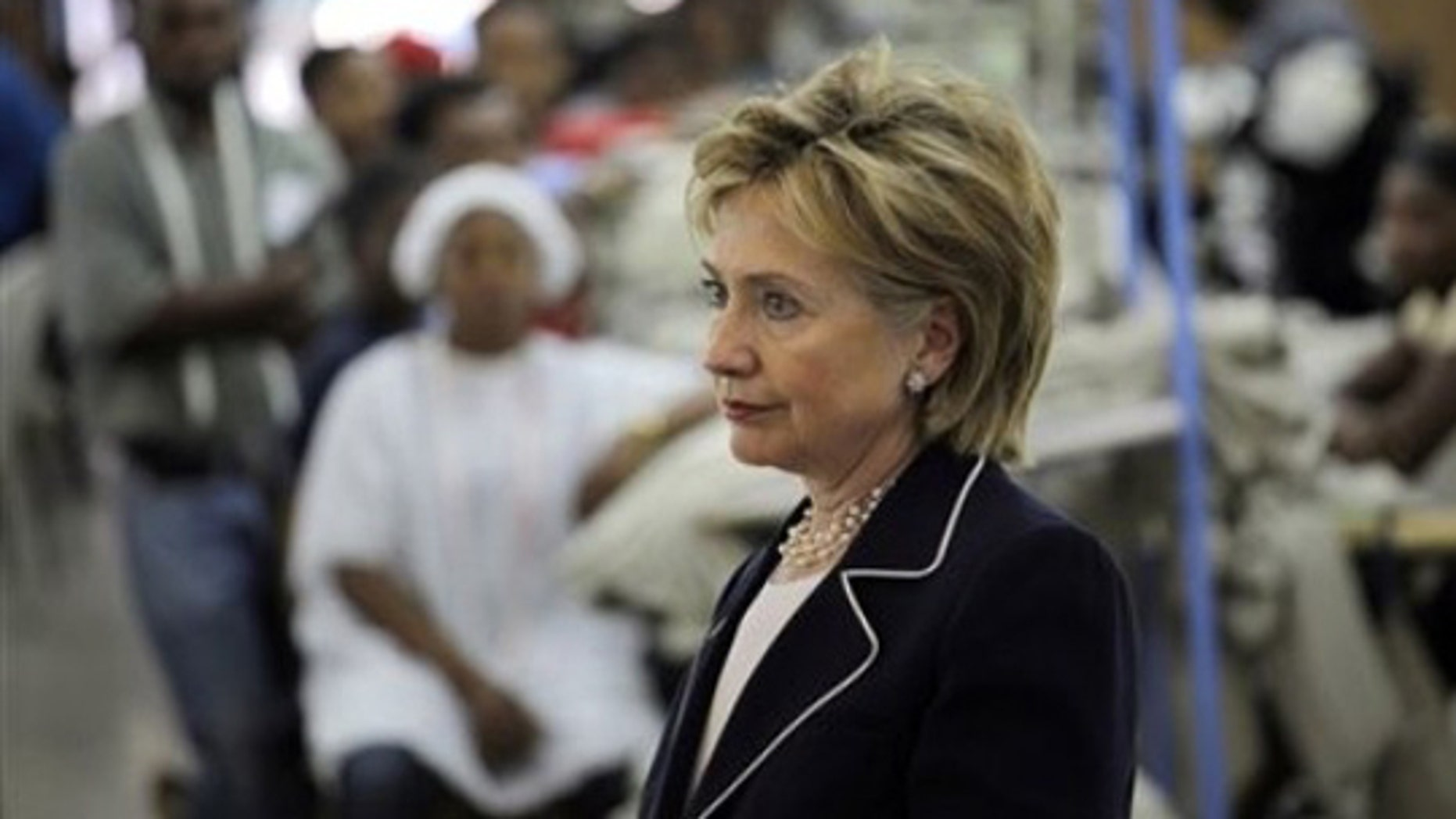 U.S. Secretary of State Hillary Clinton visits a factory in Port-au-Prince, Thursday, April 16, 2009. (AP)