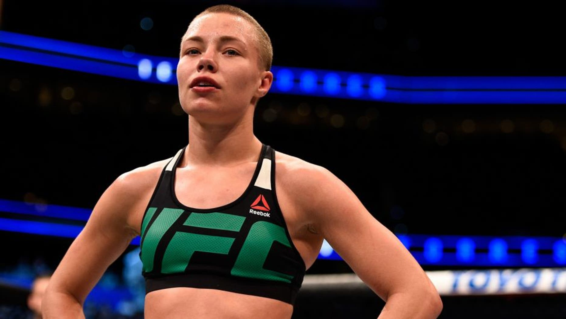 TAMPA, FL - APRIL 16: Rose Namajunas celebrates her victory over Tecia Torreshug after their women's strawweight bout during the UFC Fight Night event at Amalie Arena on April 16, 2016 in Tampa, Florida. (Photo by Jeff Bottari/Zuffa LLC/Zuffa LLC via Getty Images)