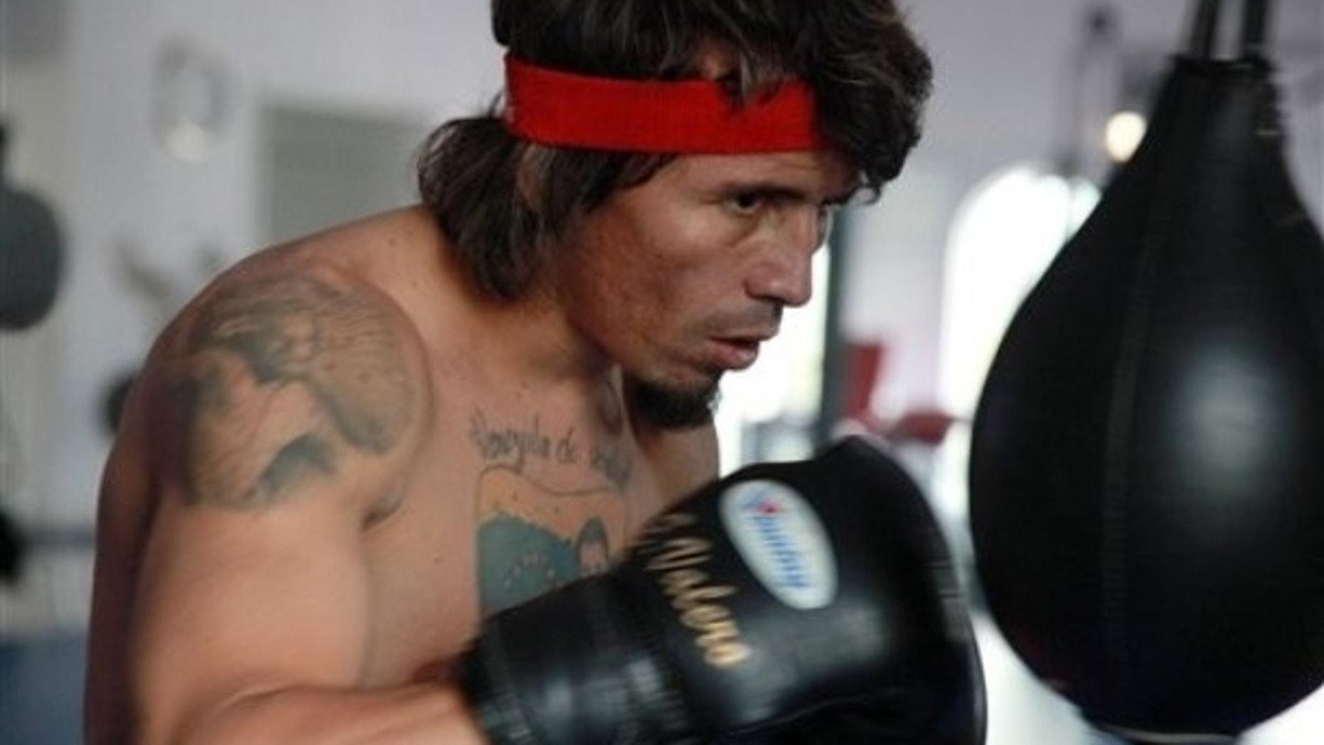 Feb. 3: Edwin Valero, of Venezuela, works out at Thai Champ Ringside Gym.