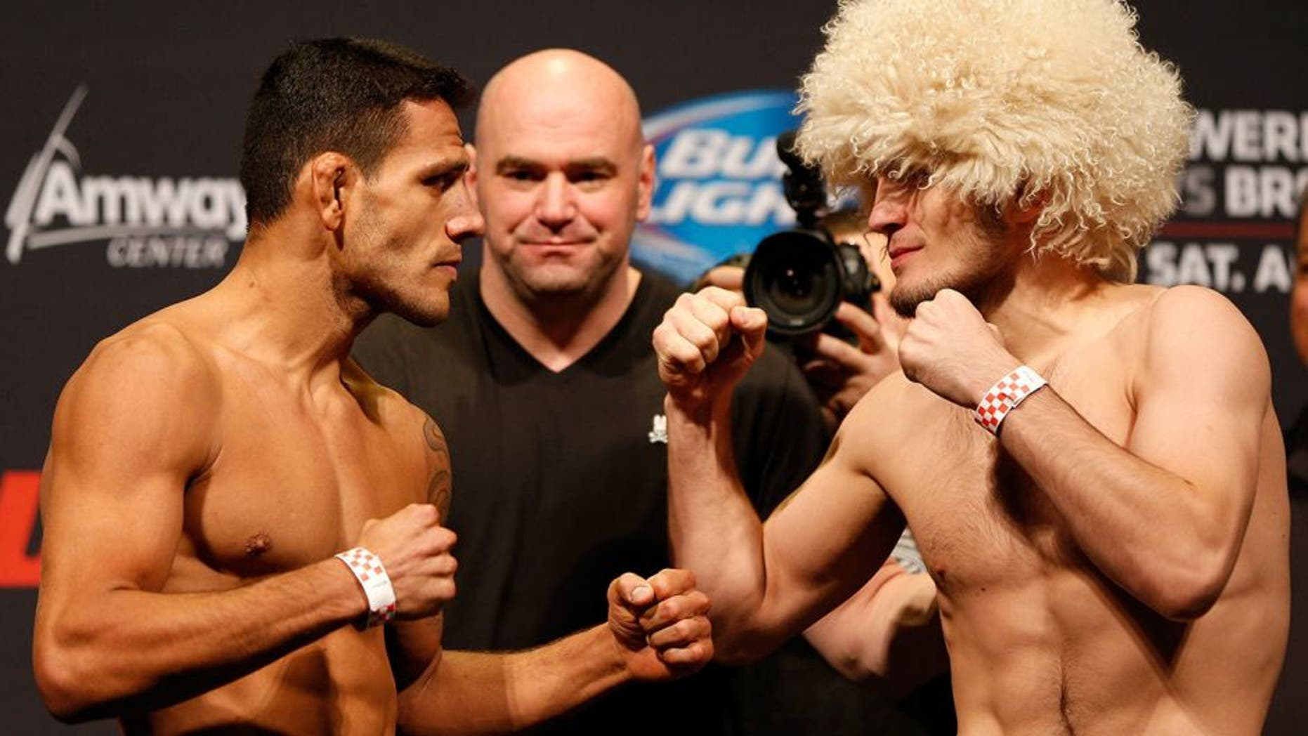 ORLANDO, FL - APRIL 18: (L-R) Opponents Rafael dos Anjos and Khabib Nurmagomedov face off during the FOX UFC Saturday weigh-in at the Amway Center on April 18, 2014 in Orlando, Florida. (Photo by Josh Hedges/Zuffa LLC/Zuffa LLC via Getty Images)
