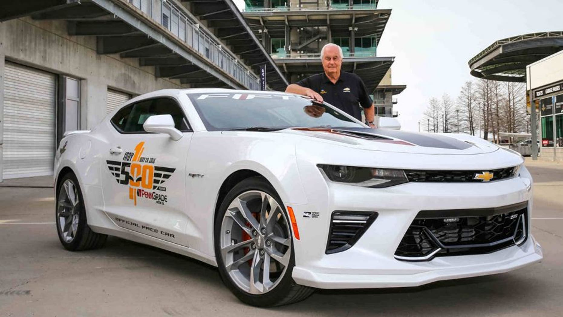 The 2017 Camaro SS 50th Anniversary Edition will lead the 100th running of the Indianapolis 500 at the Indianapolis Motor Speedway in Indianapolis, Indiana next month, driven by motorsports legend Roger Penske, who is marking 50 years as a race team owner. (Photo by Bret Kelley/IMS for Chevrolet)