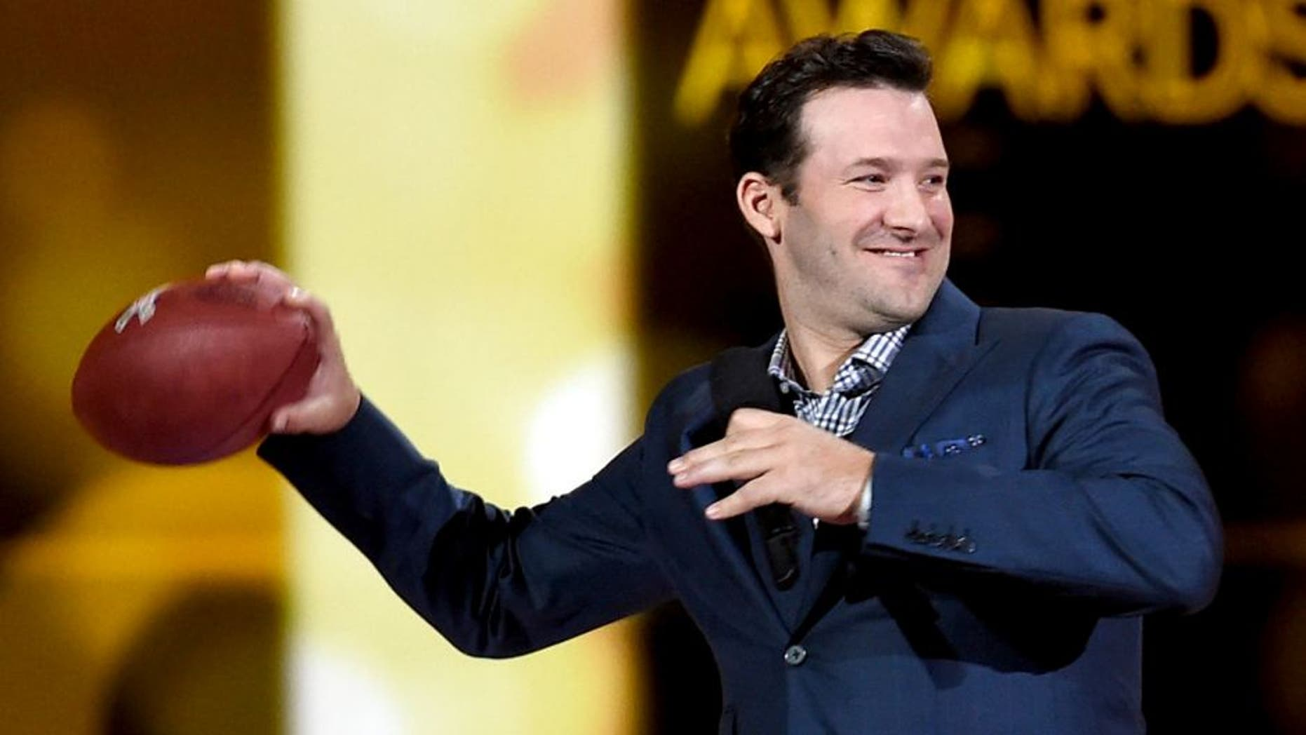 ARLINGTON, TX - APRIL 19: Professional football player Tony Romo speaks onstage during the 50th Academy Of Country Music Awards at AT&T Stadium on April 19, 2015 in Arlington, Texas. (Photo by Ethan Miller/Getty Images for dcp)
