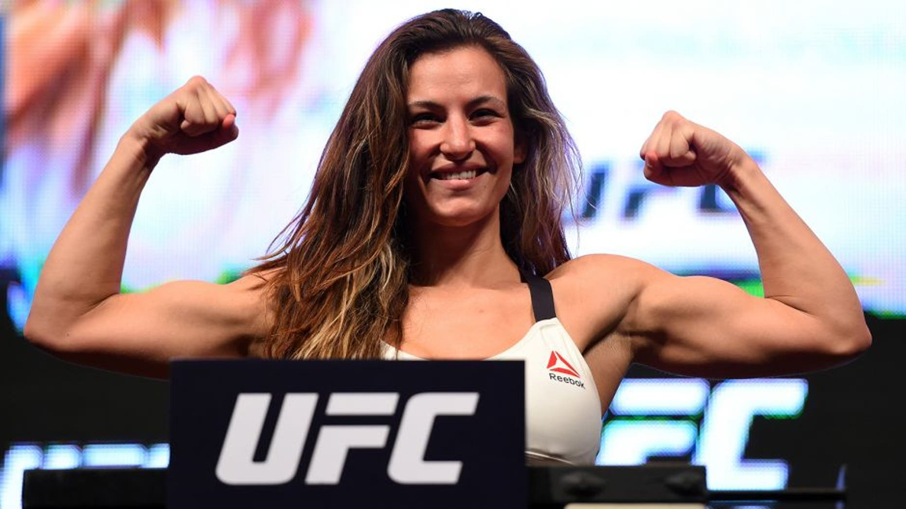 LAS VEGAS, NV - MARCH 04: Miesha Tate weighs in during the UFC 196 Weigh-in at the MGM Grand Garden Arena on March 4, 2016 in Las Vegas, Nevada. (Photo by Josh Hedges/Zuffa LLC/Zuffa LLC via Getty Images)