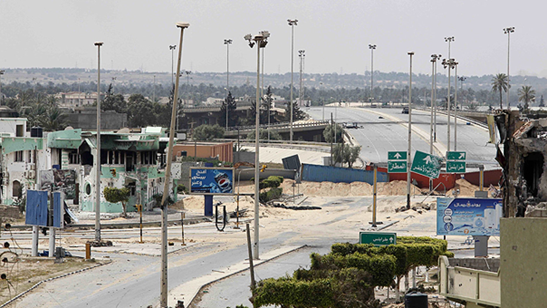 April 21: A general view of Misrata, where Libyan rebel fighters are engaged in house-to-house fighting with pro-Qaddafi troops in the besieged city, the main rebel holdout in Gadhafi's territory.