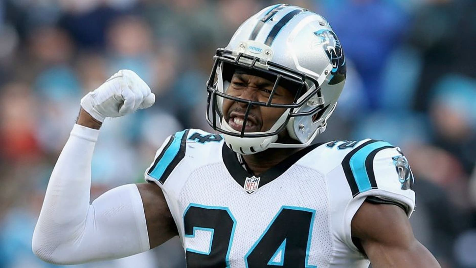 CHARLOTTE, NC - JANUARY 17: Josh Norman #24 of the Carolina Panthers reacts after a play against the Seattle Seahawks in the 3rd quarter during the NFC Divisional Playoff Game at Bank of America Stadium on January 17, 2016 in Charlotte, North Carolina. (Photo by Streeter Lecka/Getty Images)