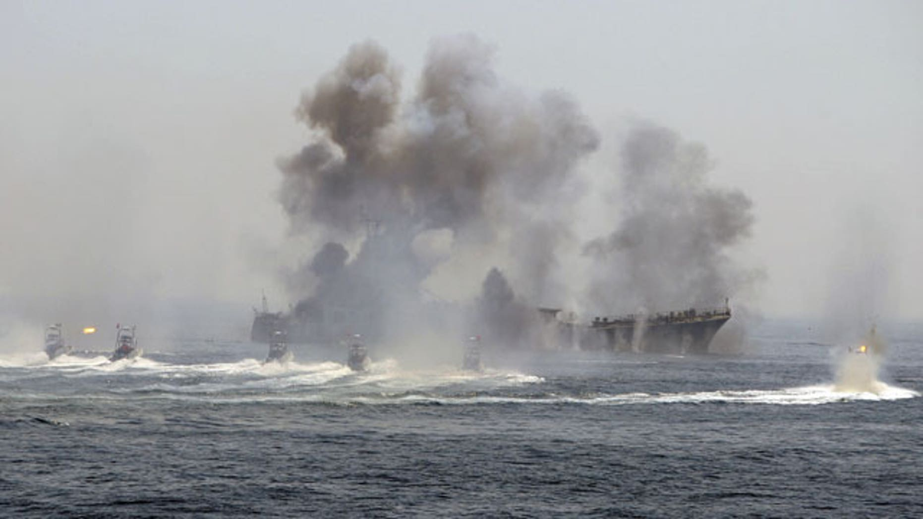 Revolutionary Guard's war game in the Persian Gulf, Iran, Thursday, April 22, 2010. Iran's elite Revolutionary Guard started large-scale war games in the Persian Gulf and the strategic Strait of Hormuz, state television reported. Iran has been holding military maneuvers in the gulf and the Strait of Hormuz annually since 2006 to show off its military capabilities.