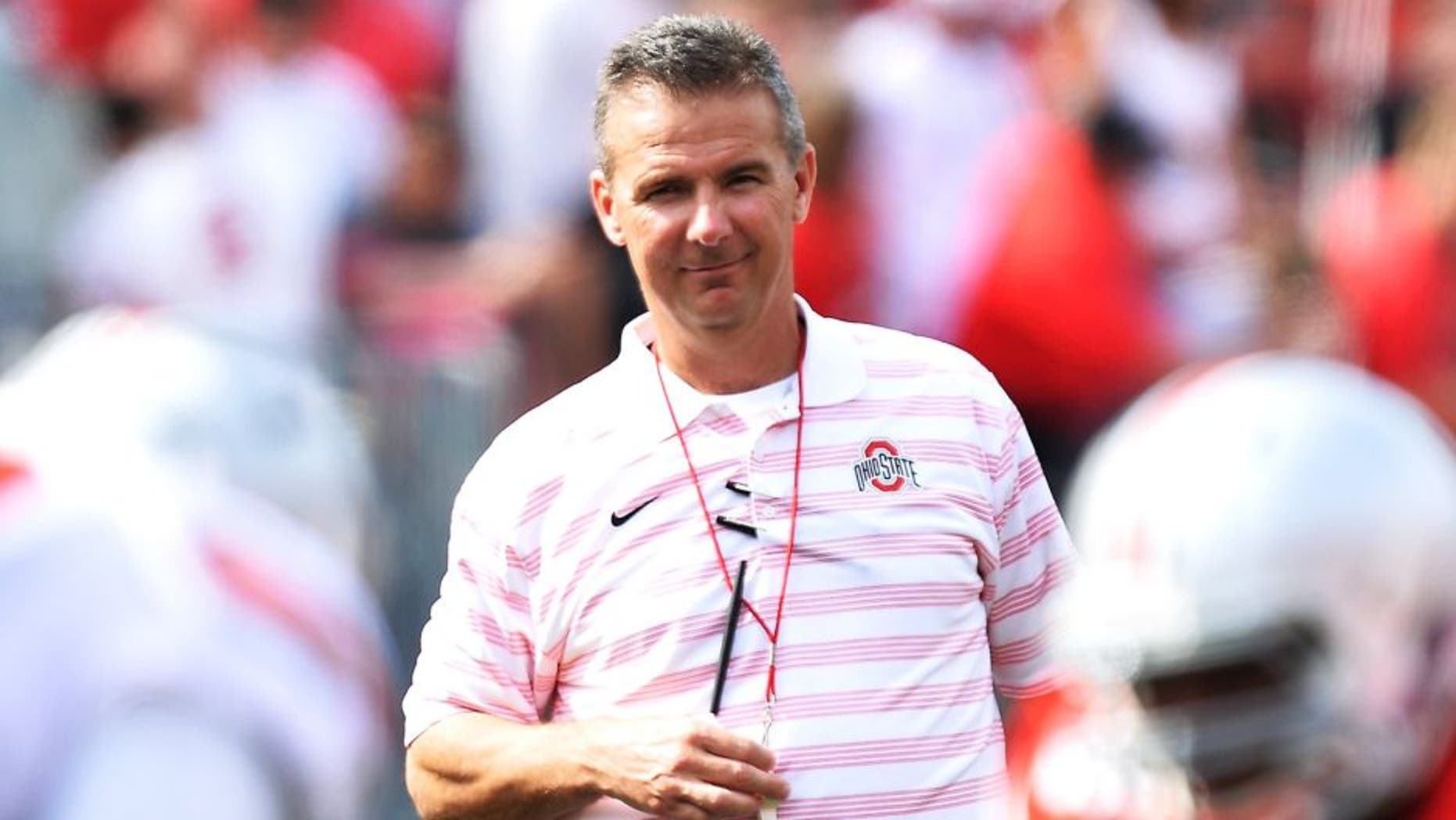 COLUMBUS, OH - APRIL 18: Head Coach Urban Meyer of the Ohio State Buckeyes watches his team scrimmage against each other during the annual Ohio State Spring Game at Ohio Stadium on April 18, 2015 in Columbus, Ohio. (Photo by Jamie Sabau/Getty Images)