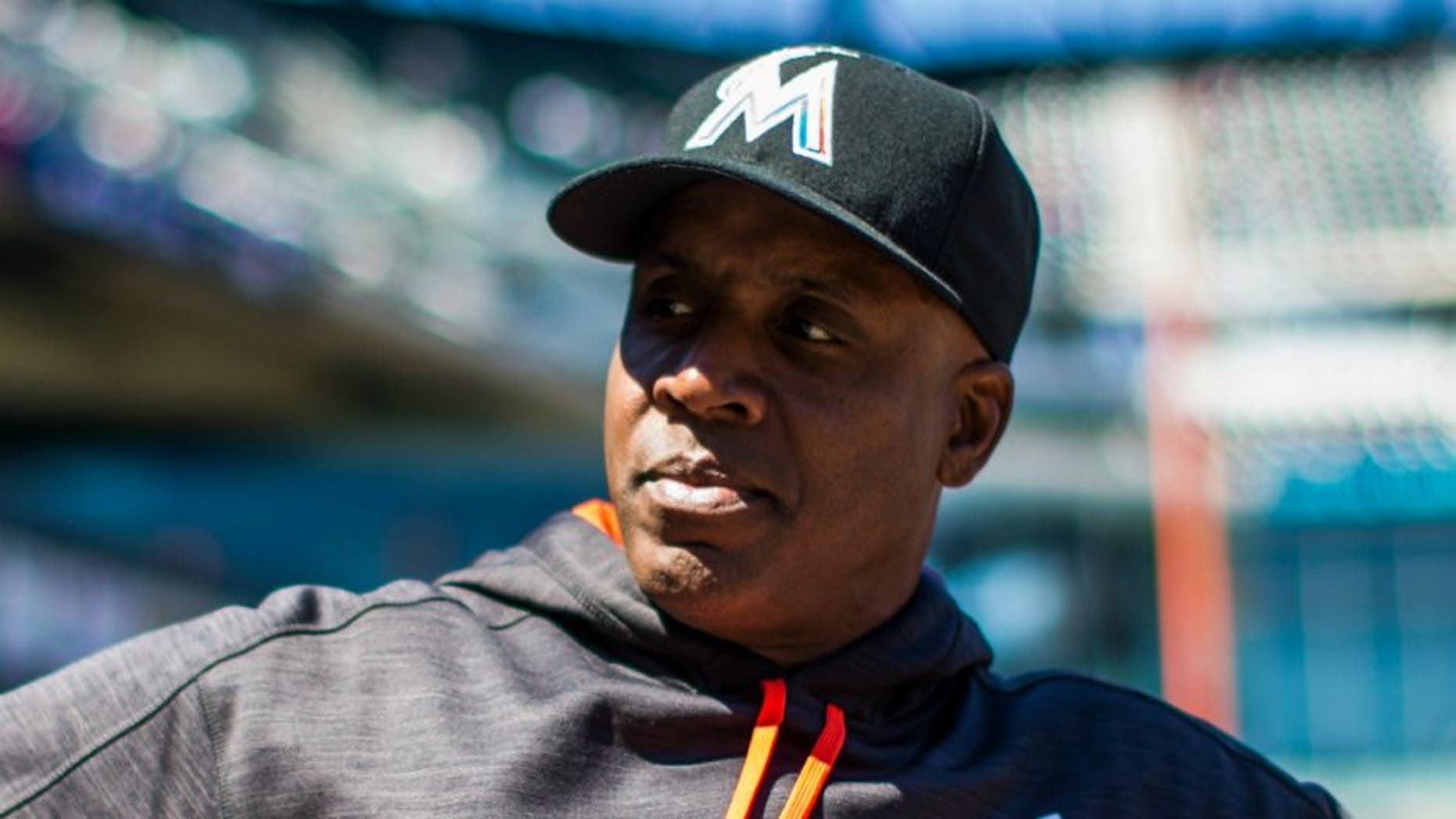 NEW YORK - APRIL 13: Miami Marlins hitting coach Barry Bonds looks on during the game agains the New York Mets at Citi Field on April 13, 2016 in the Queens borough of New York City. (Photo by Rob Tringali/SportsChrome/Getty Images)