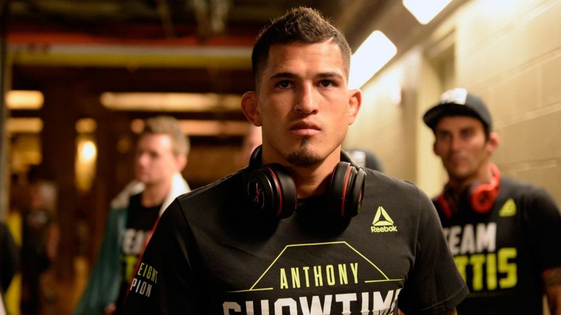 DALLAS, TX - MARCH 14: UFC lightweight champion Anthony Pettis warms up backstage before facing Rafael dos Anjos of Brazil in their UFC lightweight championship bout during the UFC 185 event at the American Airlines Center on March 14, 2015 in Dallas, Texas. (Photo by Mike Roach/Zuffa LLC/Zuffa LLC via Getty Images)