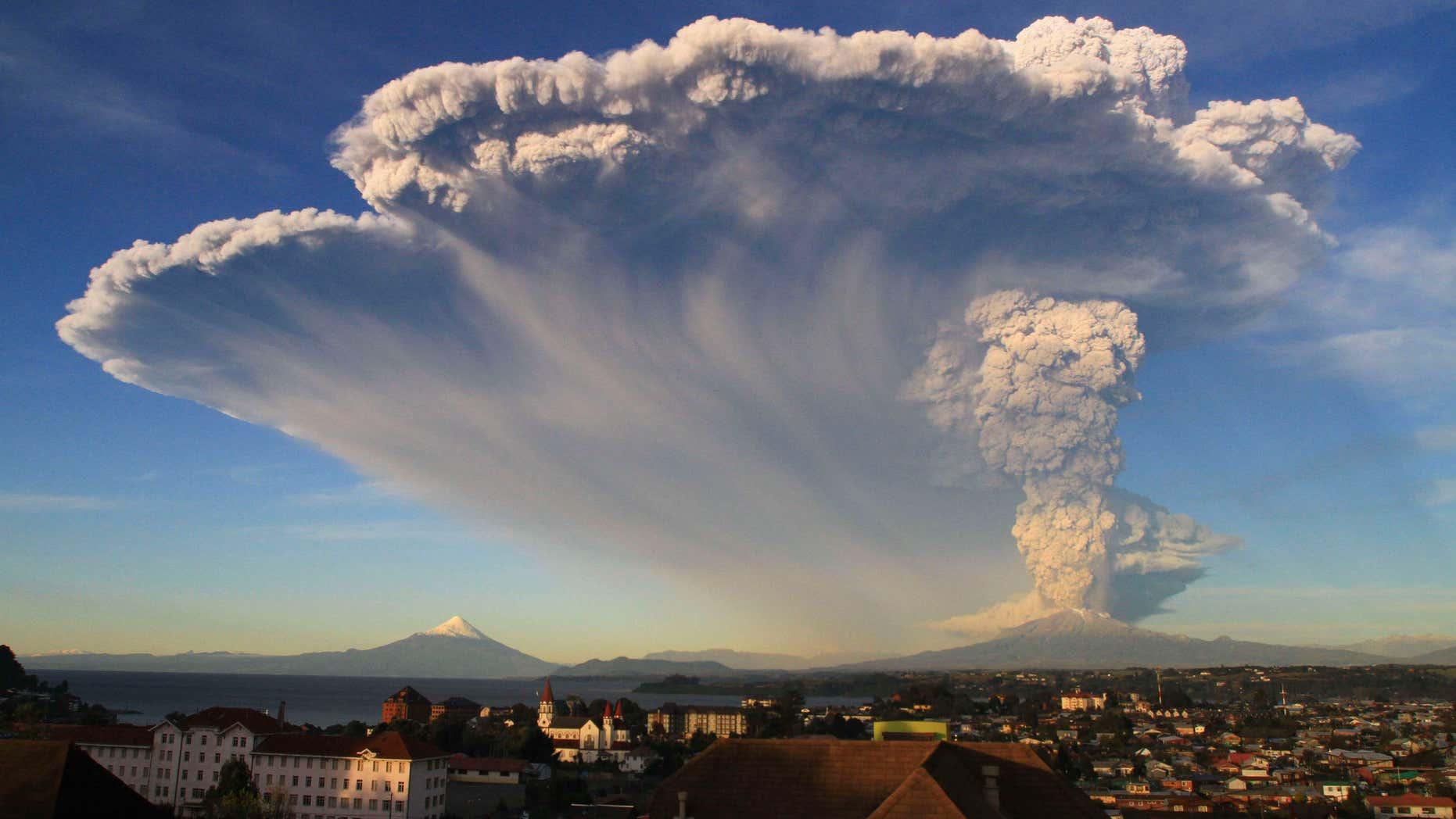 April 22, 2015: The Calbuco volcano erupts near Puerto Varas, Chile.