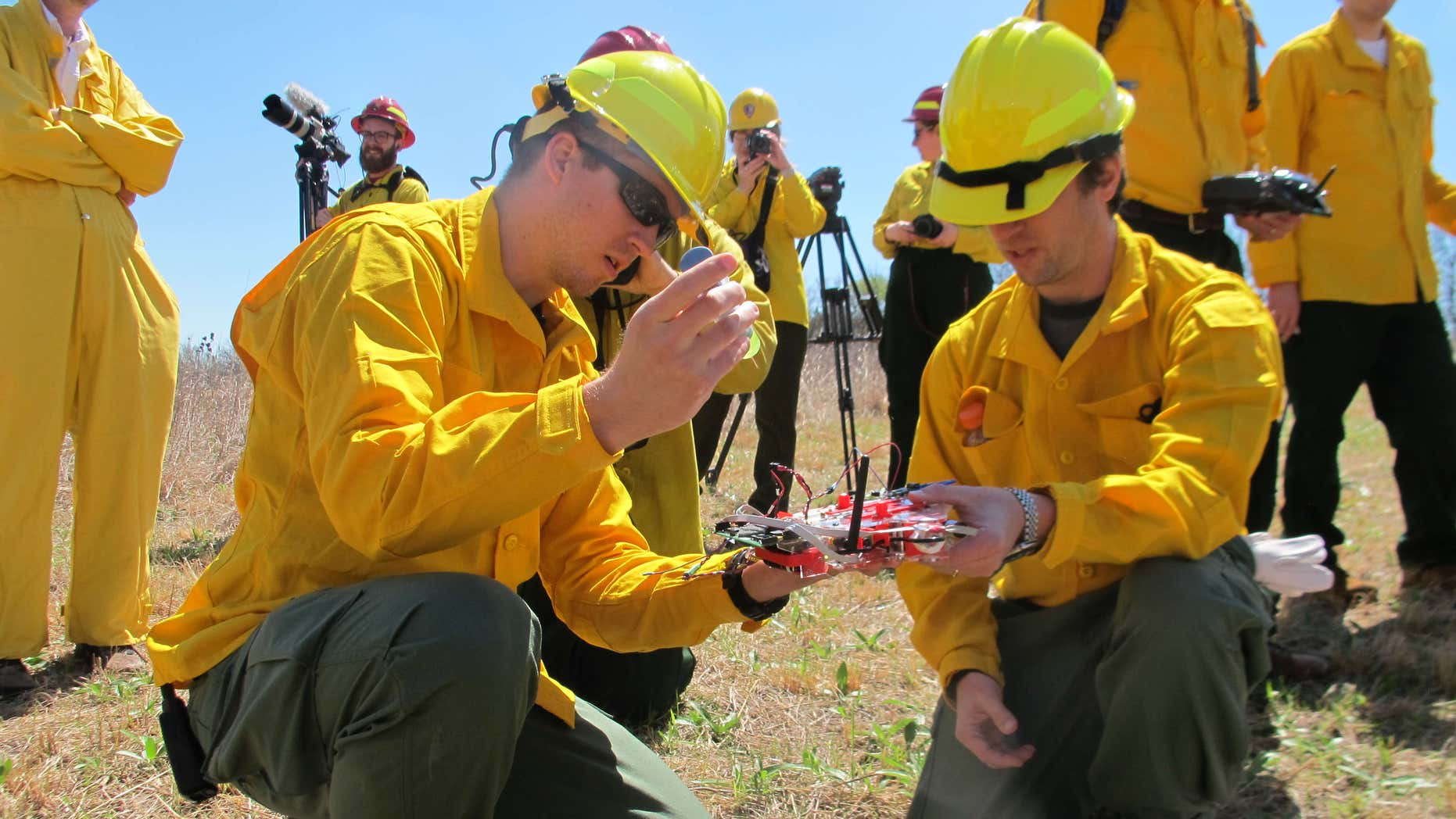 April 22, 2016: University of Nebraska-Lincoln researchers Carrick Detweiler, left, and Sebastian Elbaum, right, prepare their drone for flight at the Homestead National Monument in Beatrice, Neb./