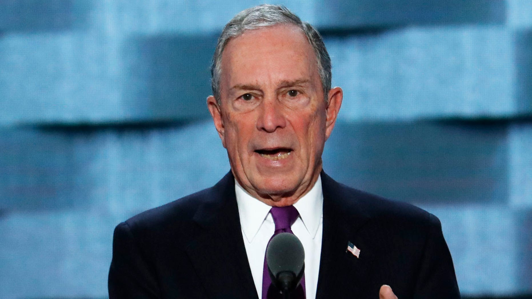 FILE - In this Wednesday, July 27, 2016, file photo, former New York City Mayor Michael Bloomberg speaks during the third day of the Democratic National Convention in Philadelphia.