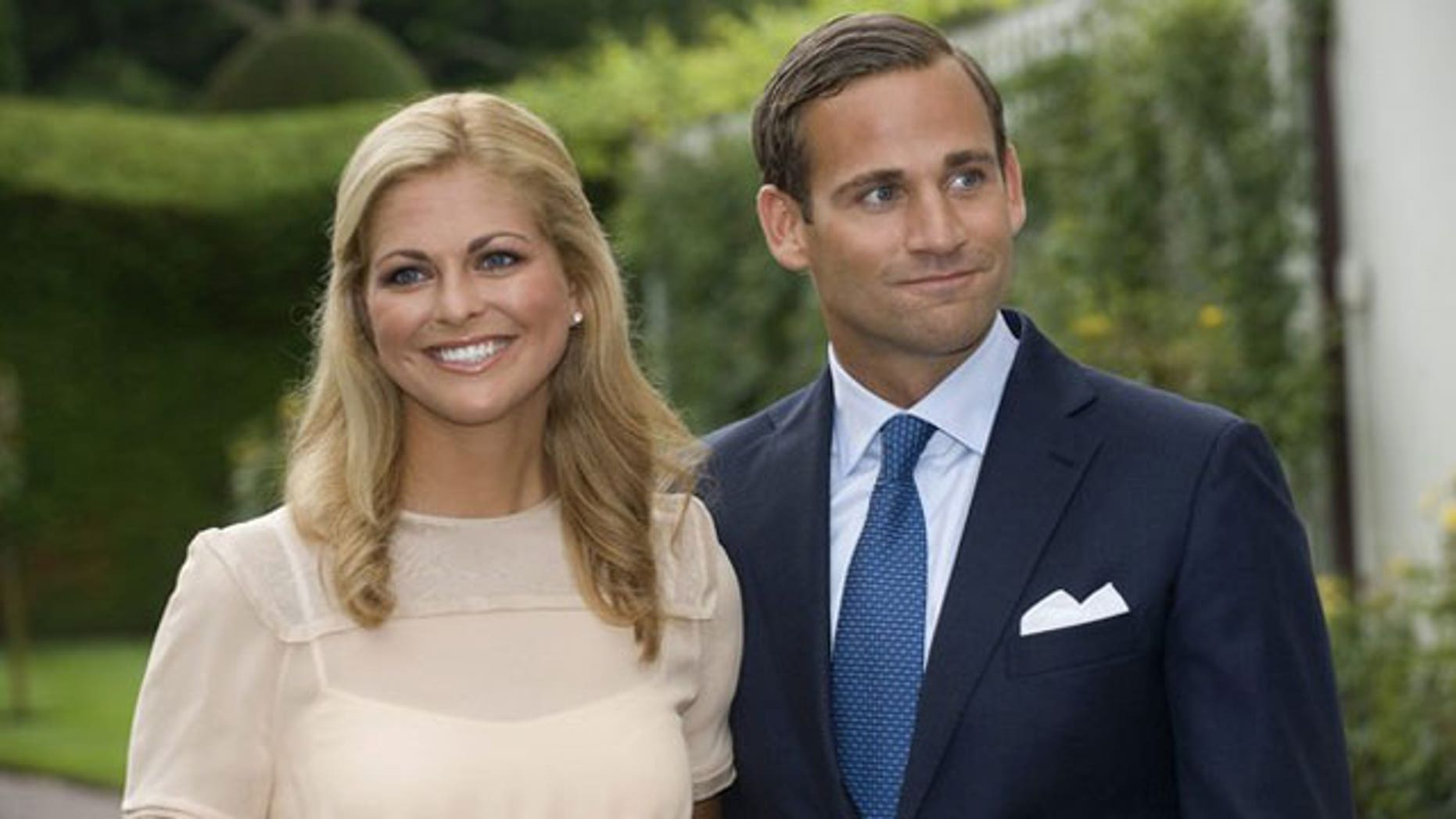 File photo of Princess Madeleine of Sweden and her fiance Jonas Bergstrom during a news conference following their engagement at the Soliden palace on the island of Oland August 11, 2009. Princess Madeleine and her fiance Jonas Bergstrom have broken their engagement the Swedish Royal Court announced on their web site April 24, 2010 (Reuters).