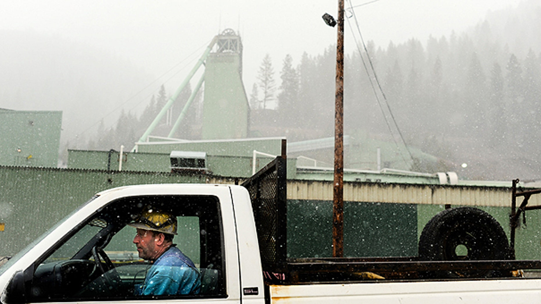 April 18: A Lucky Friday miner is positioned at the front entrance of the mine in Mullan, Idaho.