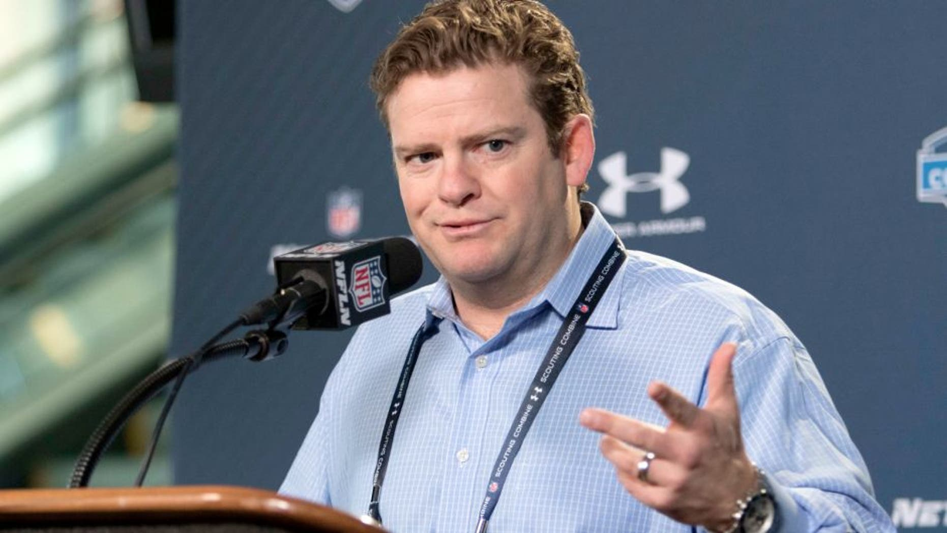 Feb 19, 2015; Indianapolis, IN, USA; Seattle Seahawks general manager John Schneider speaks to the media at the 2015 NFL Combine at Lucas Oil Stadium. Mandatory Credit: Trevor Ruszkowski-USA TODAY Sports