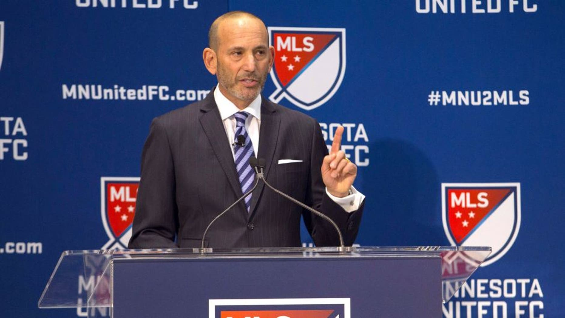 Mar 25, 2015; Minneapolis, MN, USA; MLS commissioner Don Garber announces that the Minnesota United FC soccer team will join the MLS at Target Field-Carew Atrium. Mandatory Credit: Brad Rempel-USA TODAY Sports