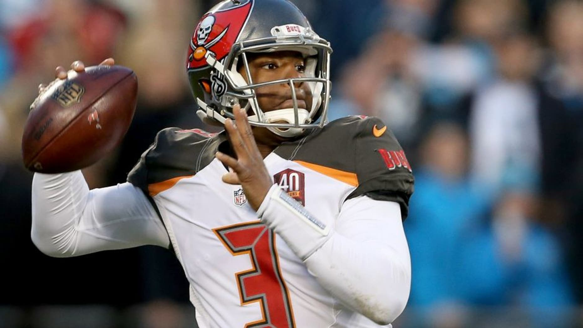 during their game at Bank of America Stadium on January 3, 2016 in Charlotte, North Carolina.,CHARLOTTE, NC - JANUARY 03: Jameis Winston #3 of the Tampa Bay Buccaneers during their game at Bank of America Stadium on January 3, 2016 in Charlotte, North Carolina. (Photo by Streeter Lecka/Getty Images)
