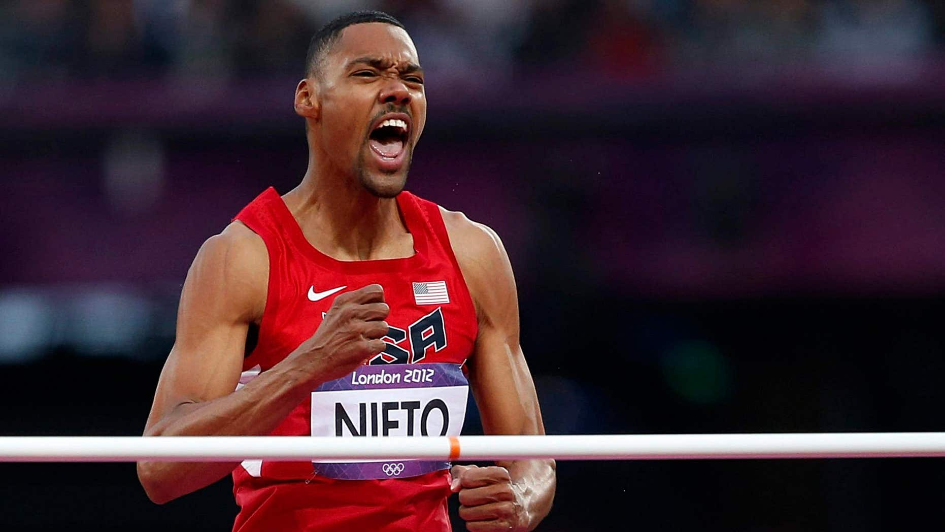 Aug. 7, 2012: Jamie Nieto of the U.S. reacts during the men's high jump final during the London 2012 Olympic Games at the Olympic Stadium.